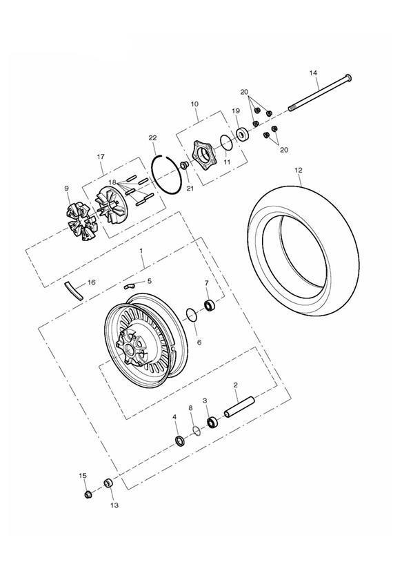 2016 triumph rocket iii rear wheel assembly