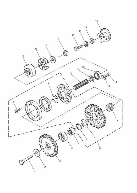 1999 triumph adventurer alternator shaft spares kit  eng  illustrated  gears