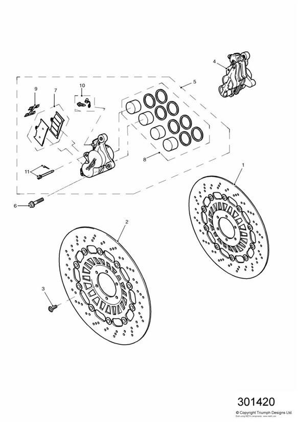 1999 triumph daytona retainer  brake  caliper  front