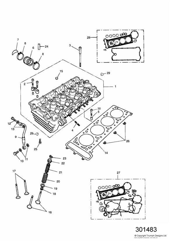 1993 Triumph Daytona Cylinder Head Gasket  3 Cyl  Engine